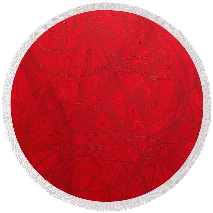 Abstract Art Round Beach Towel featuring the painting Red Planet Invaded By Love by John Dossman