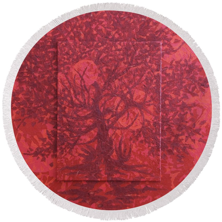 Red Round Beach Towel featuring the painting Red Planet by Judy Henninger