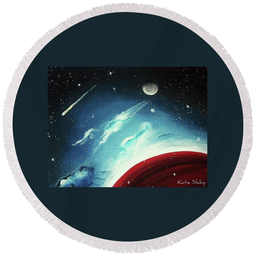 Red Planet Round Beach Towel featuring the painting Red Planet by Katie Slaby