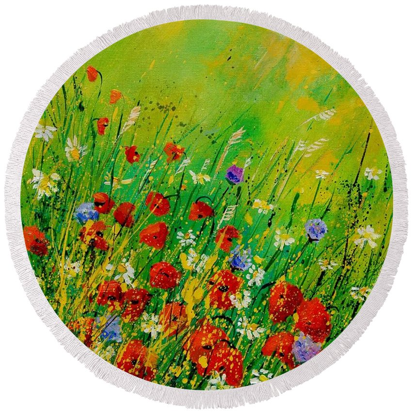 Flowers Round Beach Towel featuring the painting Red Poppies 450708 by Pol Ledent