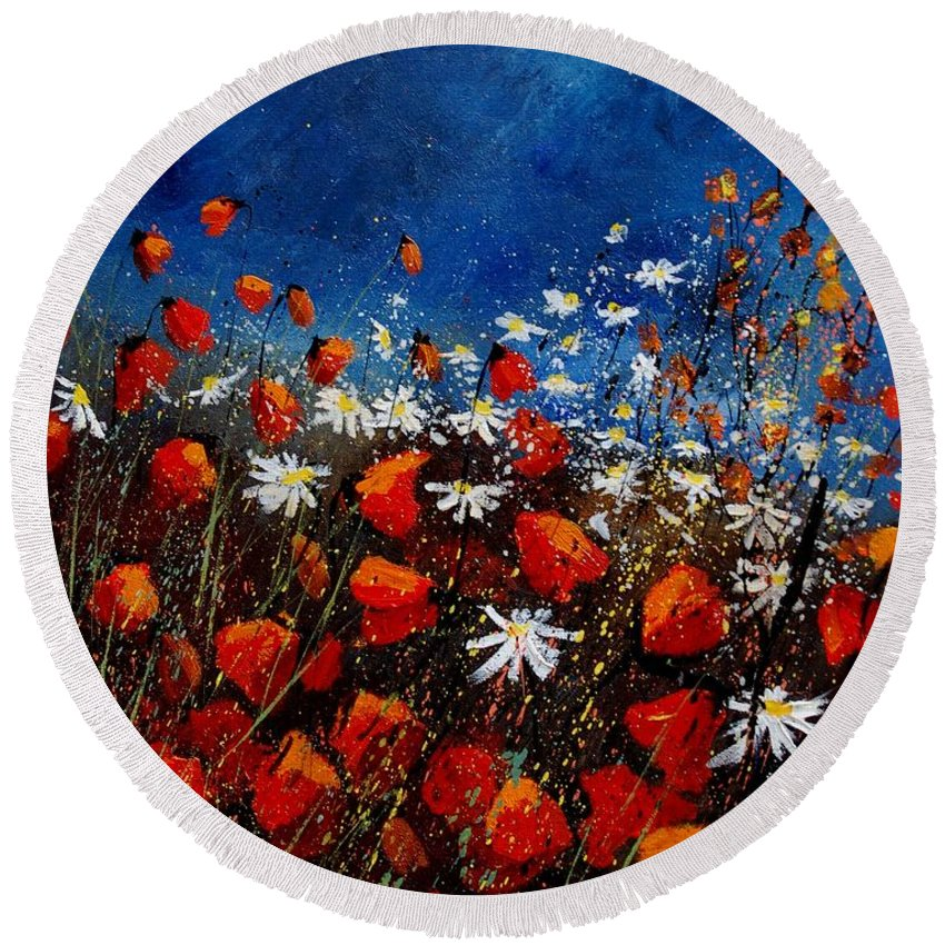 Flowers Round Beach Towel featuring the painting Red Poppies 451108 by Pol Ledent