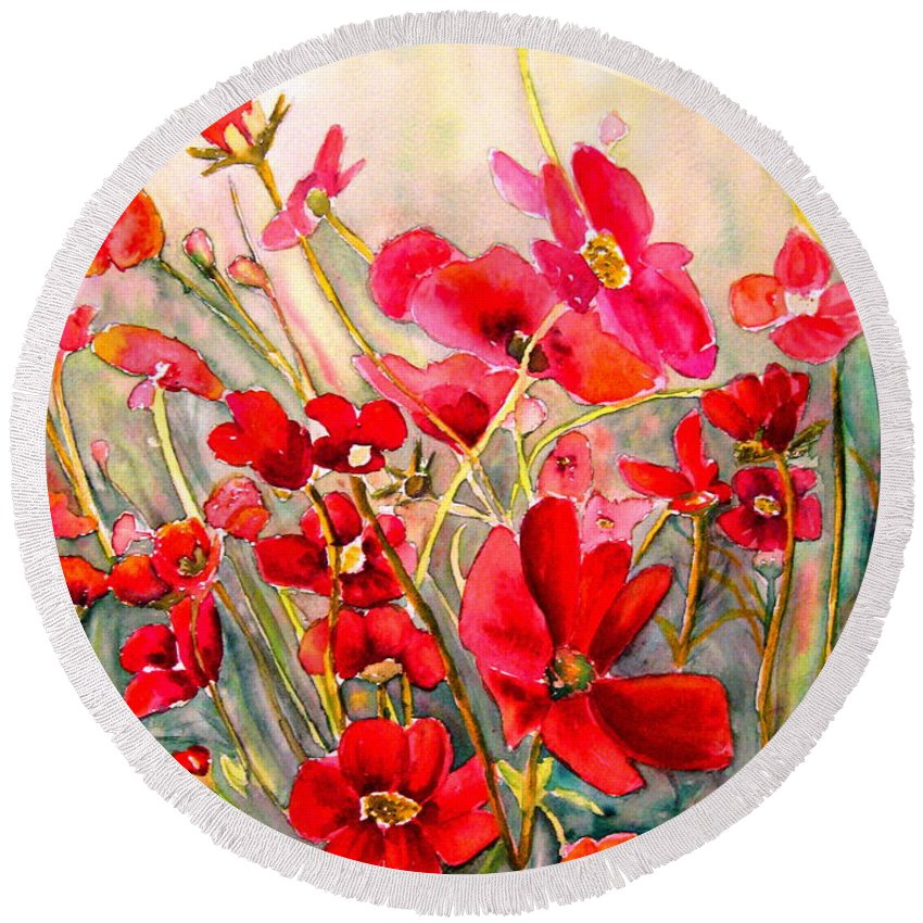 Poppies Round Beach Towel featuring the painting Red Poppies by Carole Spandau