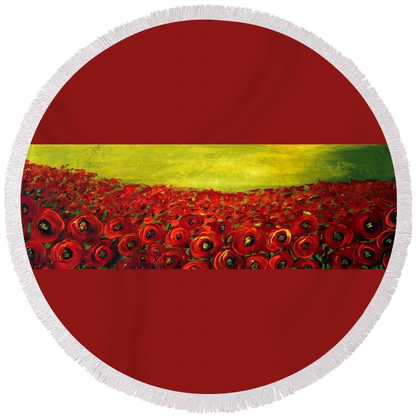 Flowers Round Beach Towel featuring the painting Red Poppies Field by Luiza Vizoli