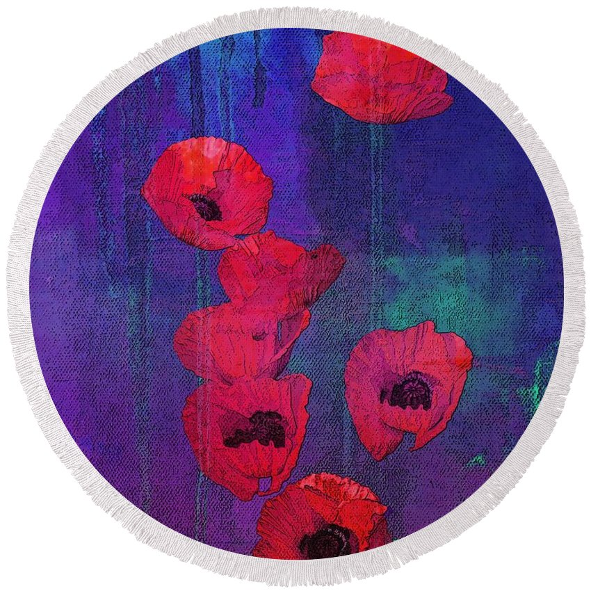 Red Poppies Round Beach Towel featuring the mixed media Red Poppies by I'ina Van Lawick