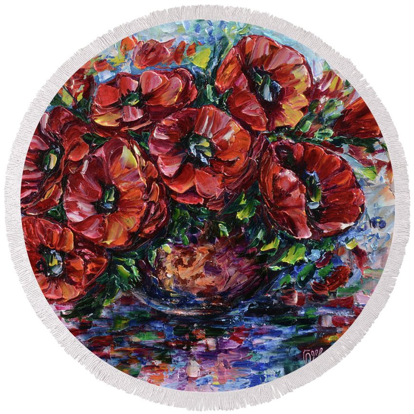 Lena-owens Round Beach Towel featuring the painting Red Poppies In A Vase by OLena Art Brand