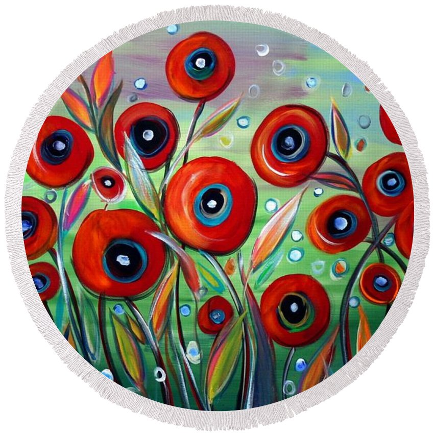 Flowers Round Beach Towel featuring the painting Red Poppies In Grass by Luiza Vizoli