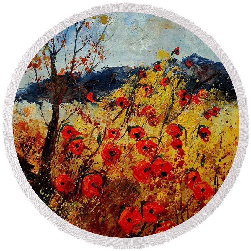 Poppies Round Beach Towel featuring the painting Red Poppies In Provence by Pol Ledent