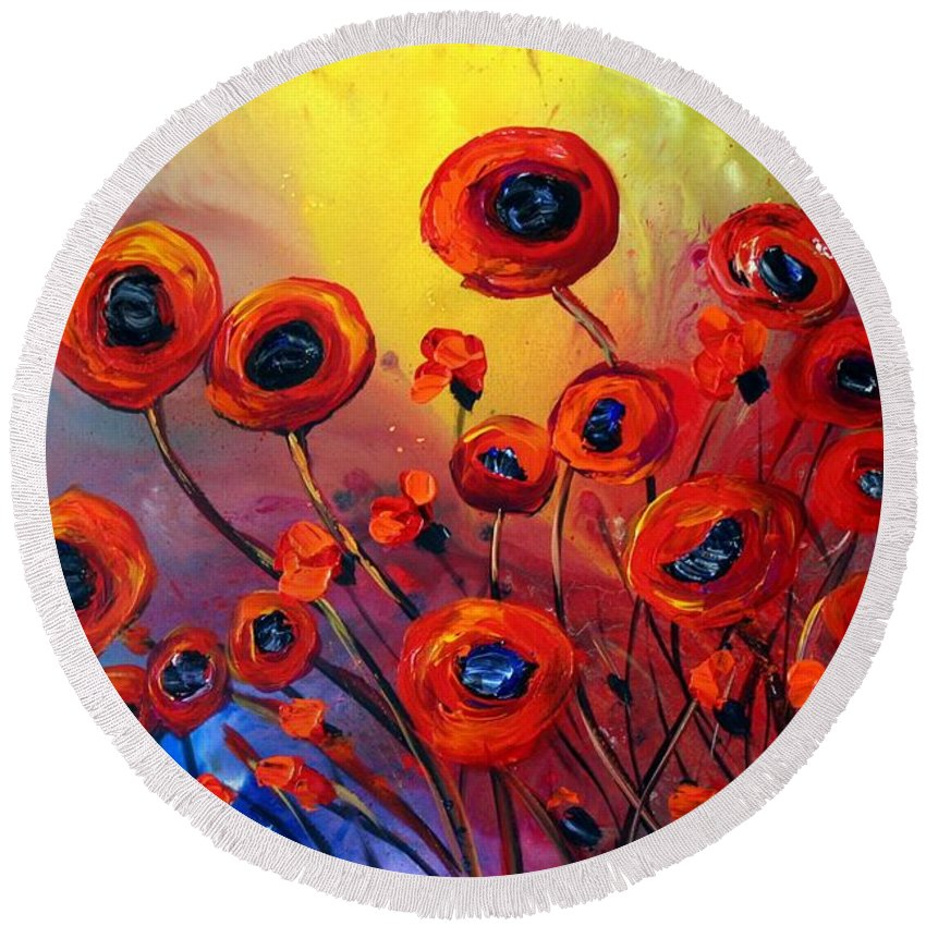 Flowers Round Beach Towel featuring the painting Red Poppies In Rain by Luiza Vizoli
