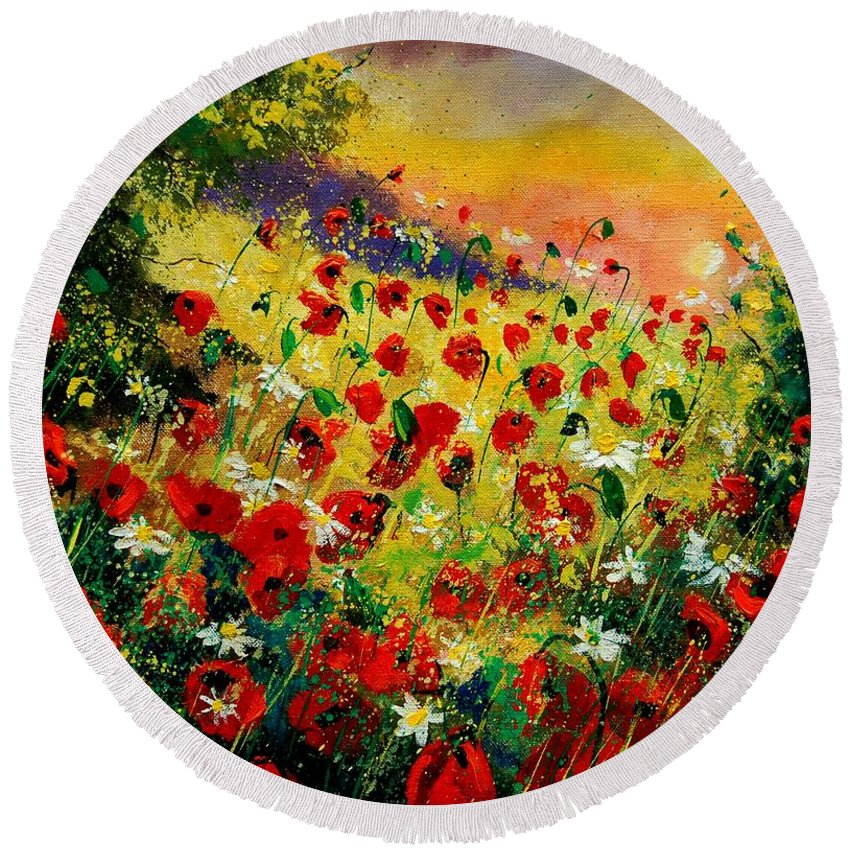 Tree Round Beach Towel featuring the painting Red Poppies by Pol Ledent