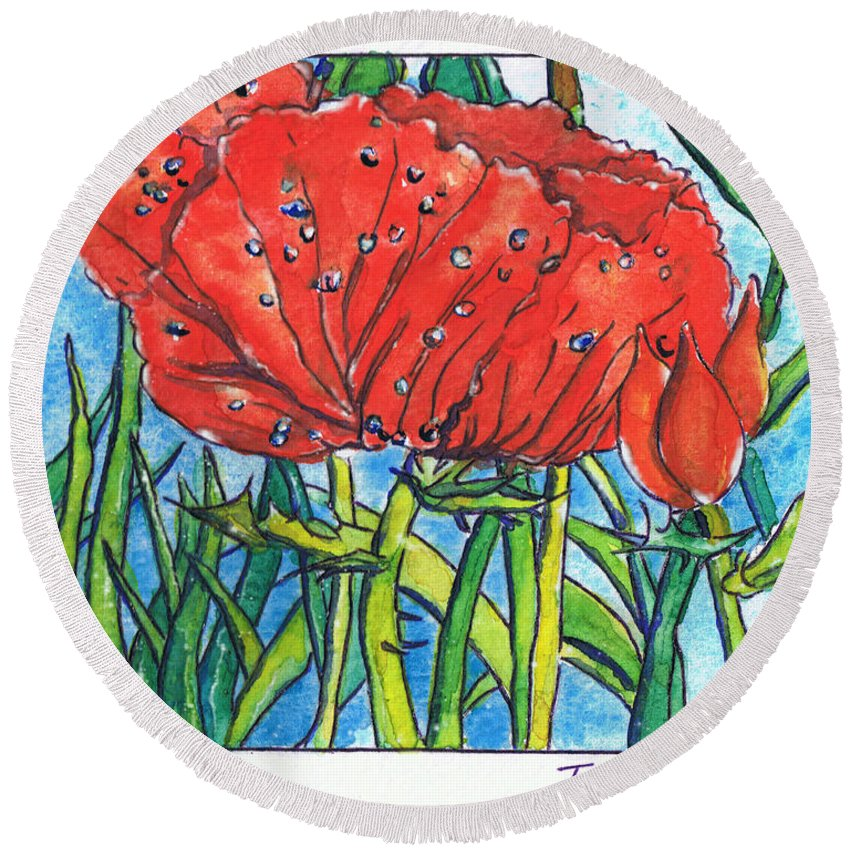 Tamara Kulish Round Beach Towel featuring the painting Red Poppy 1 by Tamara Kulish