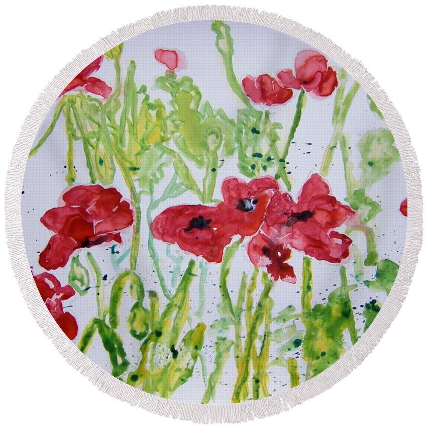 Poppy Round Beach Towel featuring the painting Red Poppy Flowers by Derek Mccrea