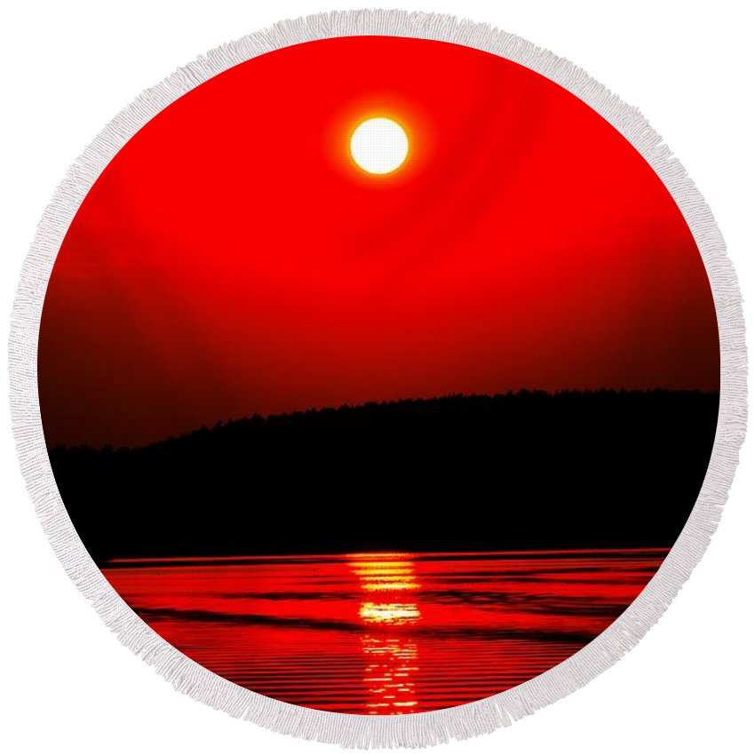 Emotion Round Beach Towel featuring the photograph Red Power by Max Steinwald