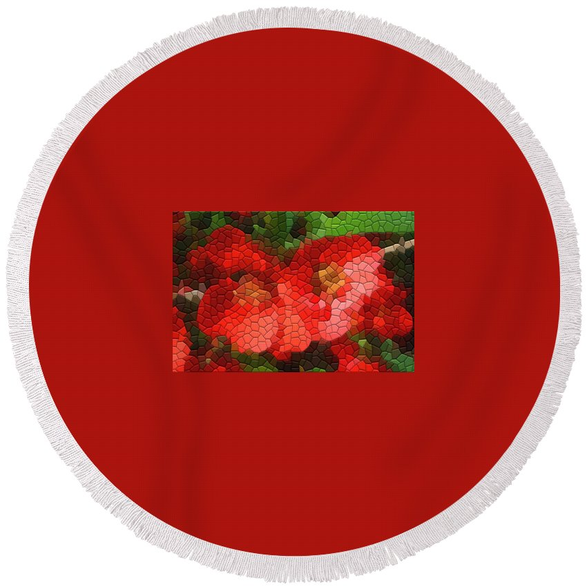 Quince Round Beach Towel featuring the photograph Red Quince by Kathryn Meyer