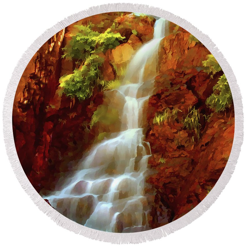Red River Falls Round Beach Towel featuring the painting Red River Falls by Peter Piatt
