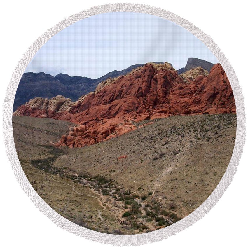 Red Rock Canyon Round Beach Towel featuring the photograph Red Rock Canyon 1 by Anita Burgermeister