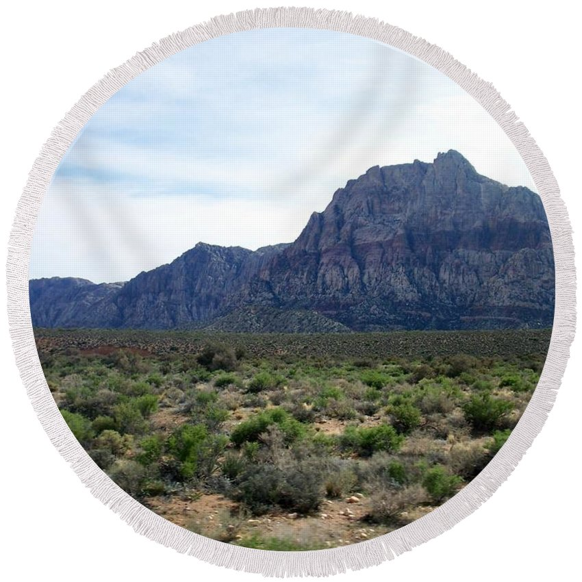 Red Rock Canyon Round Beach Towel featuring the photograph Red Rock Canyon 3 by Anita Burgermeister