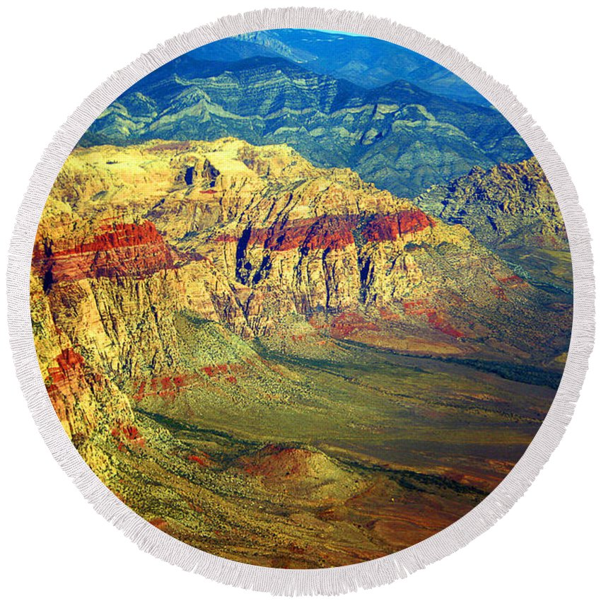 Red Rock Round Beach Towel featuring the photograph Red Rock Canyon Nevada by James BO Insogna