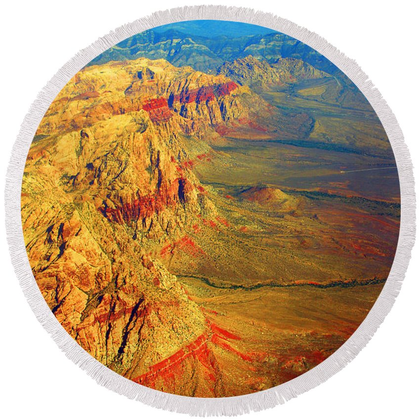 Red Rock Canyon Round Beach Towel featuring the photograph Red Rock Canyon Nevada Vertical Image by James BO Insogna