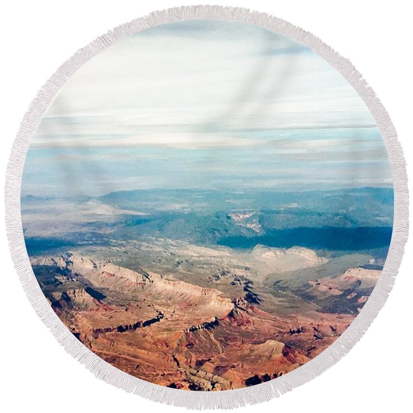 Landscape Round Beach Towel featuring the photograph Red Rock by Dorothy DiGrigoli