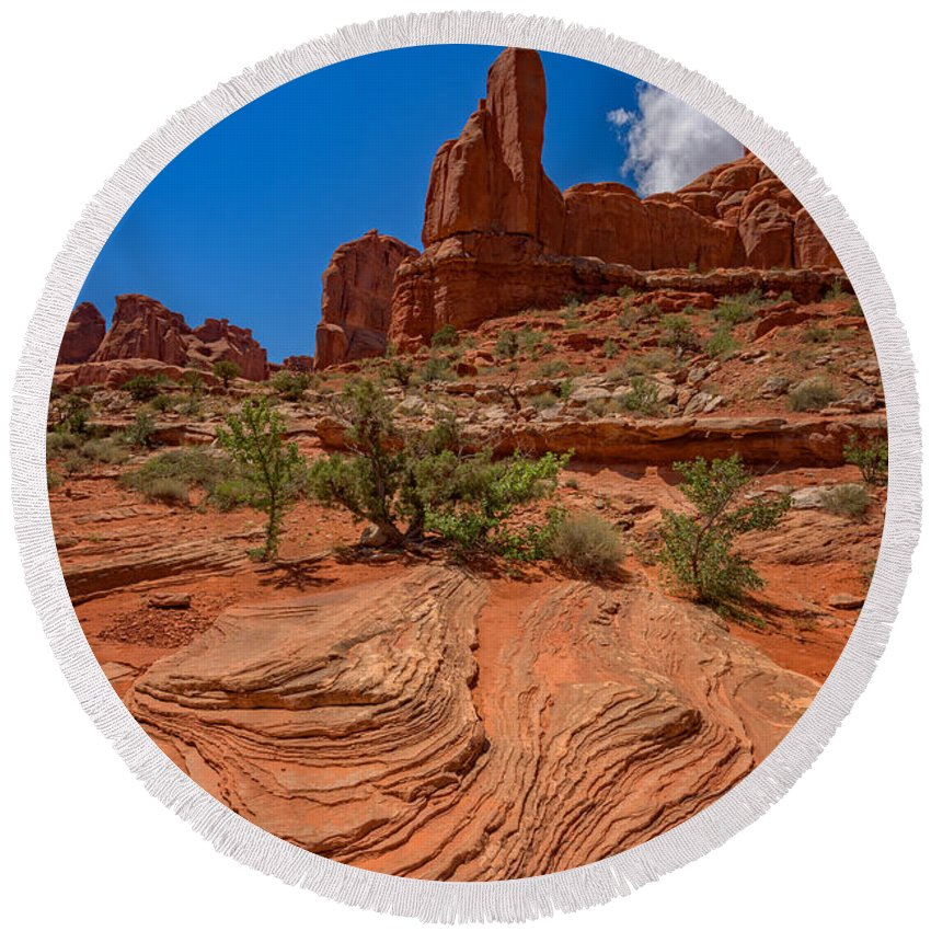 Arches National Park Round Beach Towel featuring the photograph Red Rock Park Avenue by Rick Berk