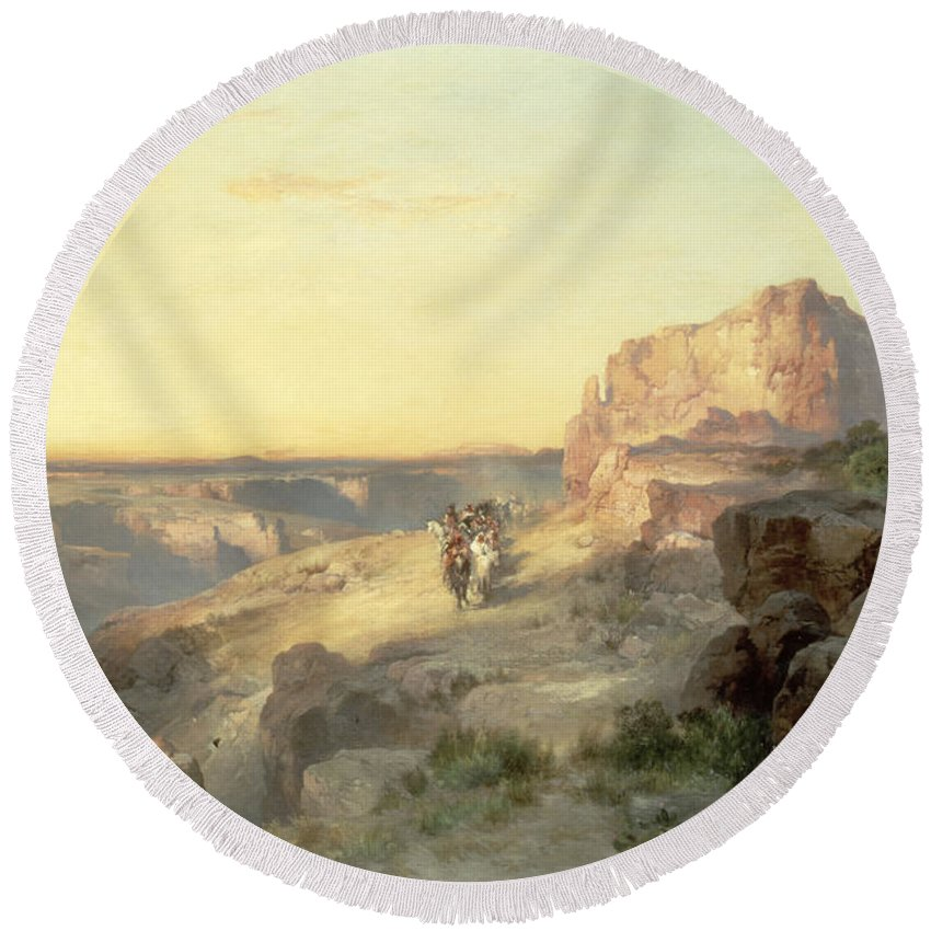 Thomas Moran Round Beach Towel featuring the painting Red Rock Trail by Thomas Moran
