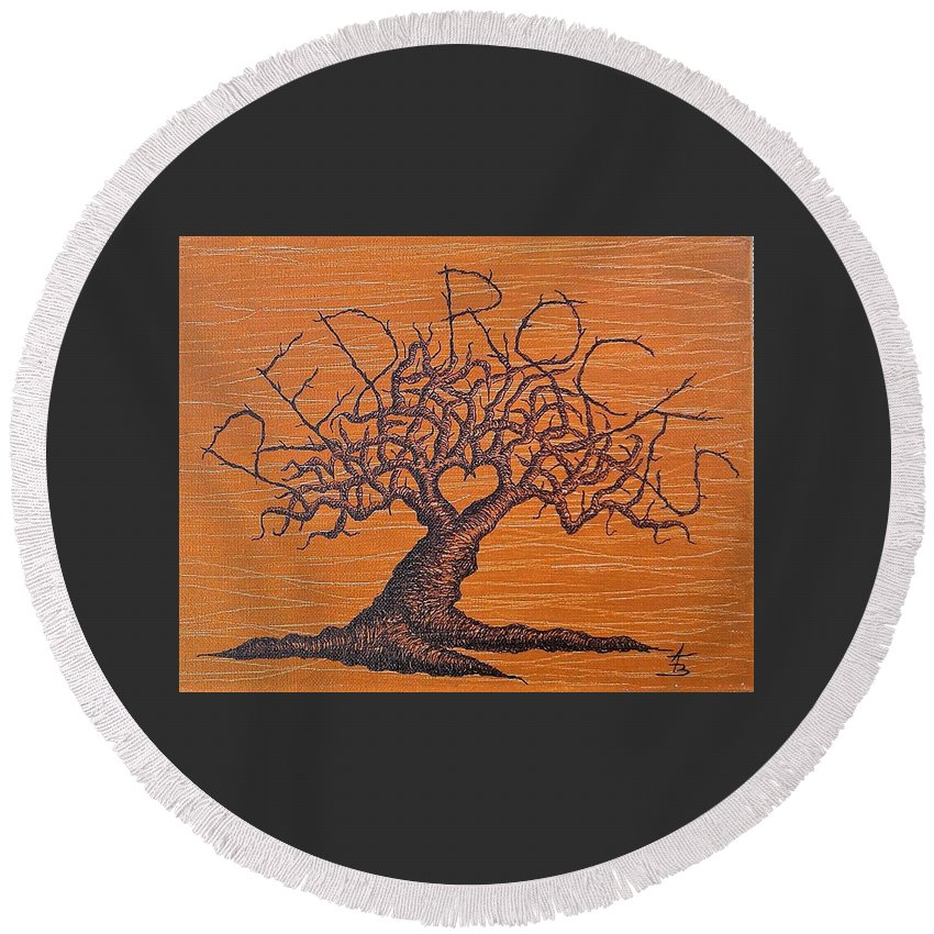 Red Rocks Round Beach Towel featuring the drawing Red Rocks Love Tree by Aaron Bombalicki