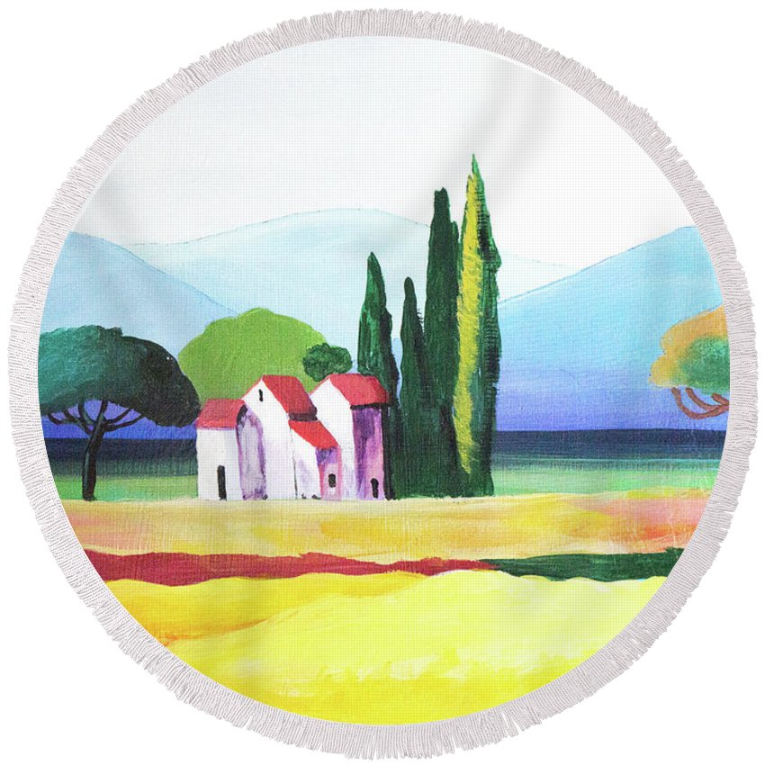 Landscape Round Beach Towel featuring the painting Red Roof Pastoral by John Moon
