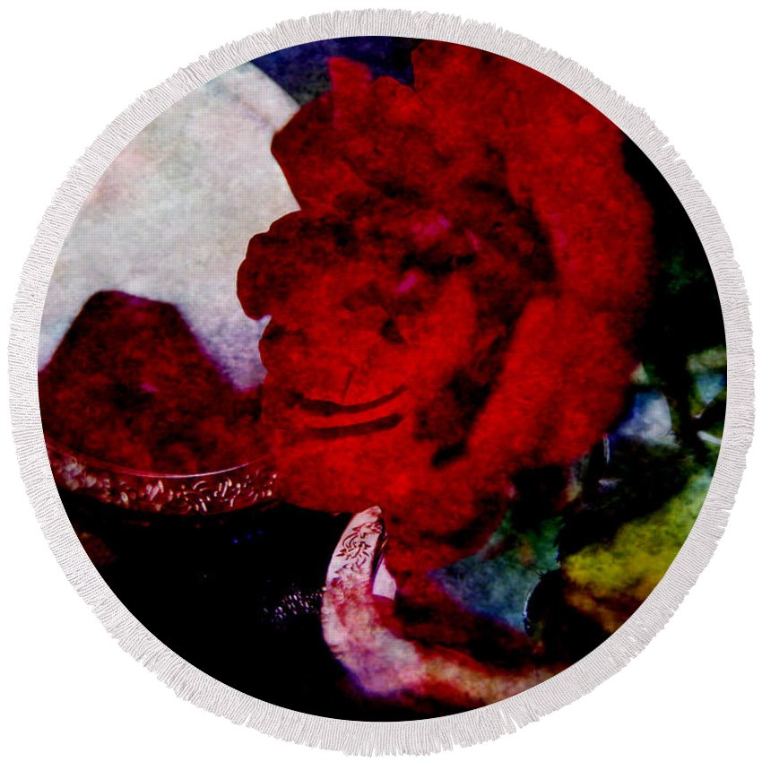 Red Rose Round Beach Towel featuring the photograph Red Rose And The Mirror by Alex Art and Photo