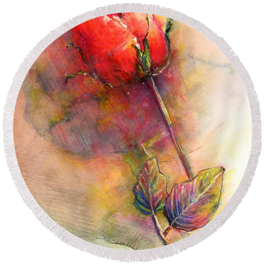 Red Rose Round Beach Towel featuring the painting Red Rose From The Past by Miki De Goodaboom