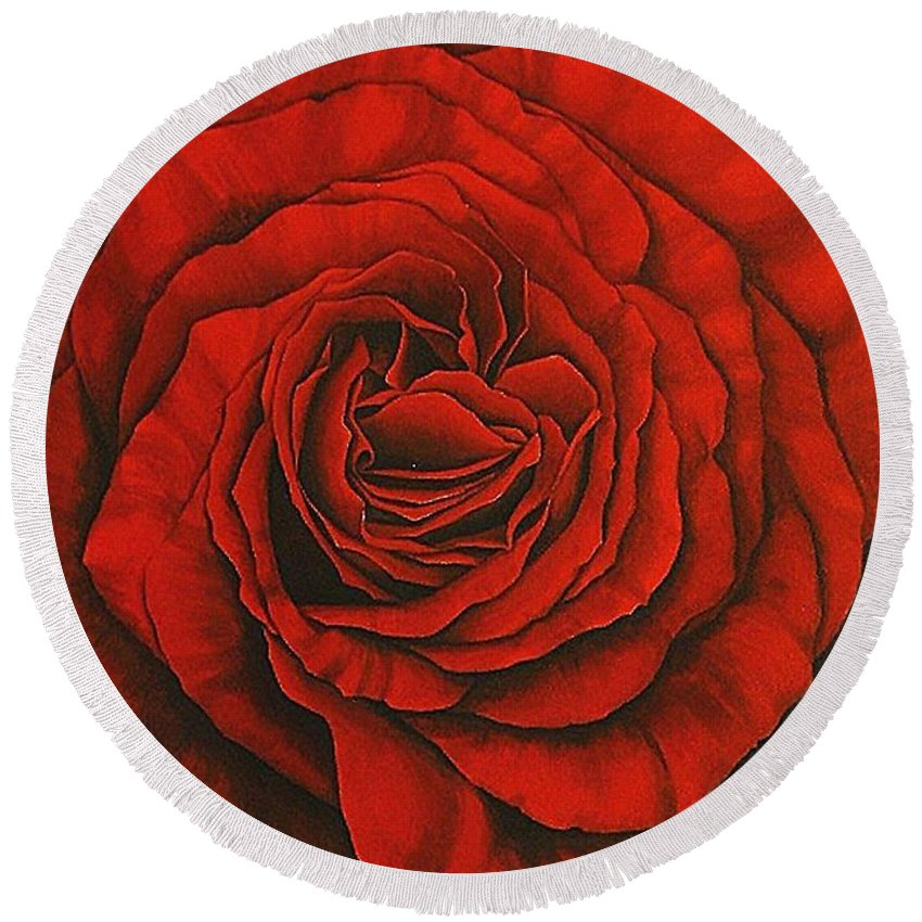 Red Round Beach Towel featuring the painting Red Rose II by Rowena Finn