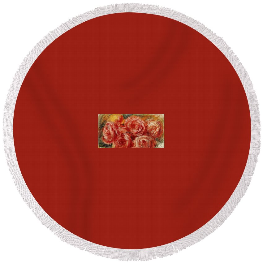 Fruit Round Beach Towel featuring the digital art Red Roses Pierre-auguste Renoir by Eloisa Mannion