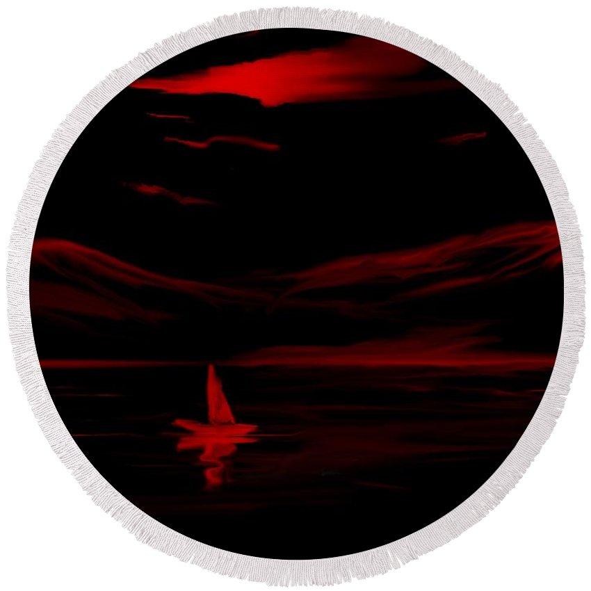 Digital Art Round Beach Towel featuring the digital art Red Sail by David Lane
