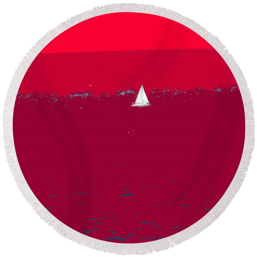 St Kitts Round Beach Towel featuring the photograph Red Sea by Ian MacDonald