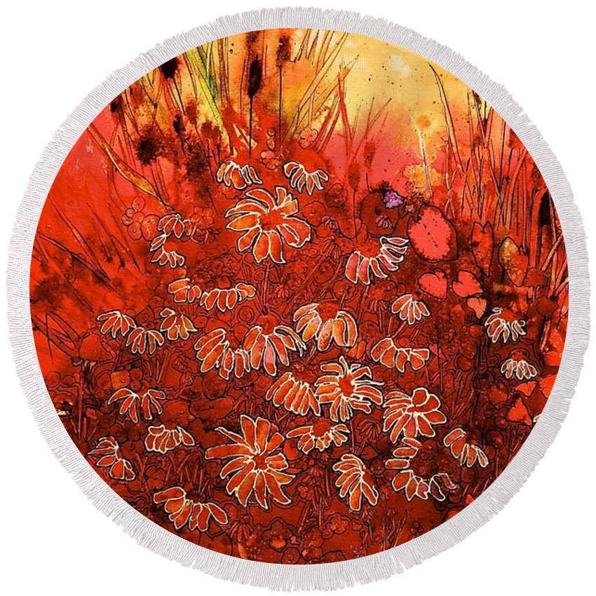 Floral Round Beach Towel featuring the painting Red Sea by Shirley Sykes Bracken