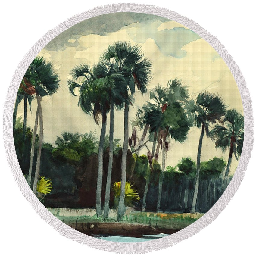 19th Century American Painters Round Beach Towel featuring the painting Red Shirt Homosassa Florida by Winslow Homer