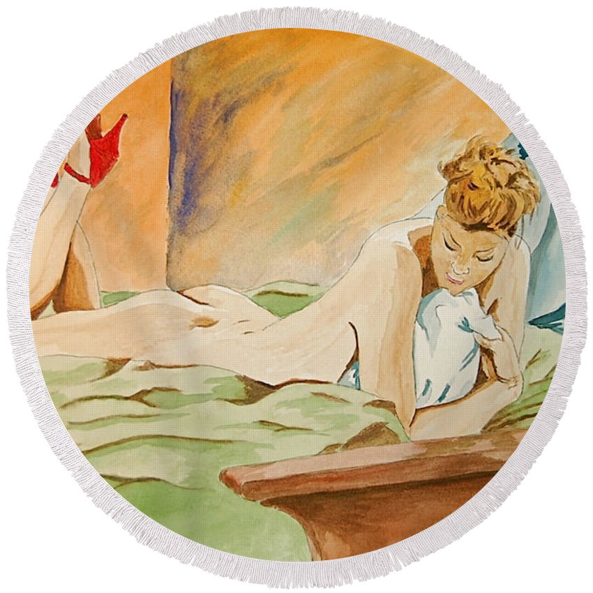 Nude Round Beach Towel featuring the painting Red Shoes by Herschel Fall