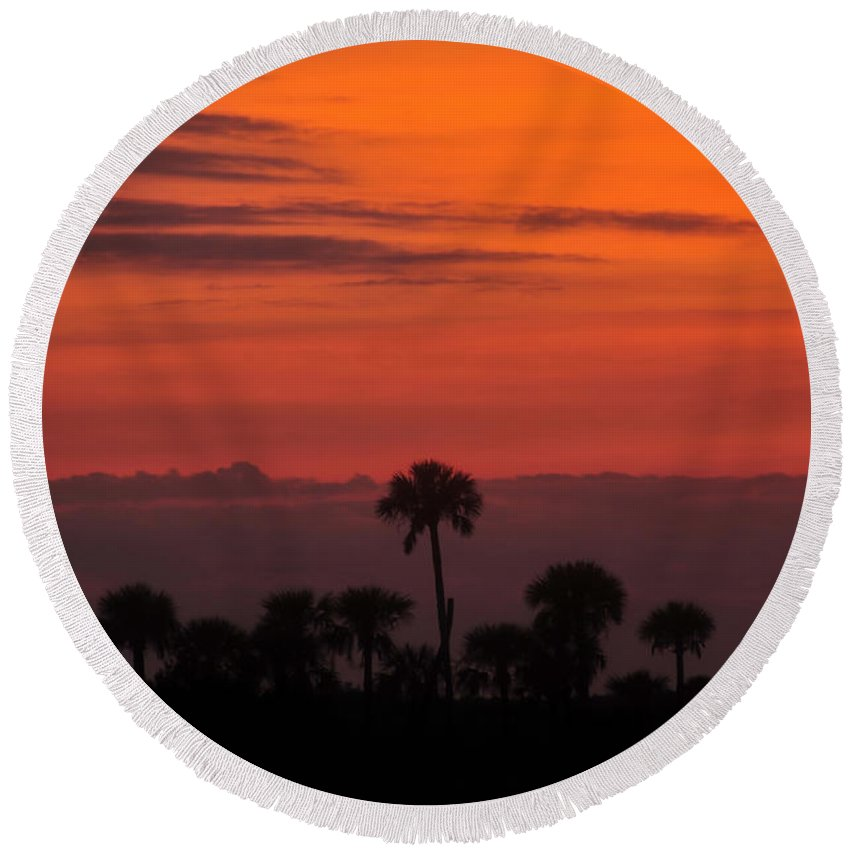 Big Cypress National Preserve Round Beach Towel featuring the photograph Red Sky by David Lee Thompson