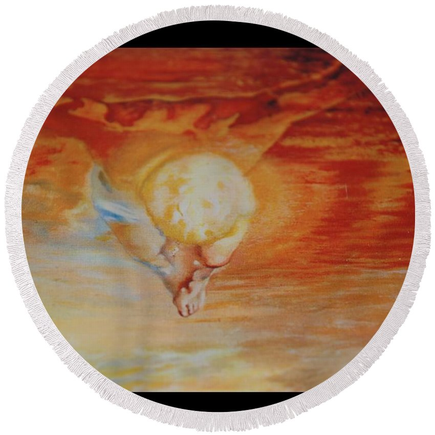 Angels Round Beach Towel featuring the photograph Red Sky by Rob Hans