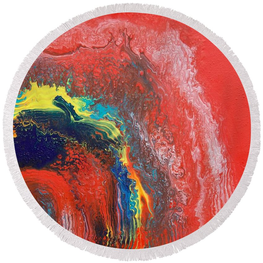 Red Round Beach Towel featuring the painting Red Sky by Veronica Ungureanu