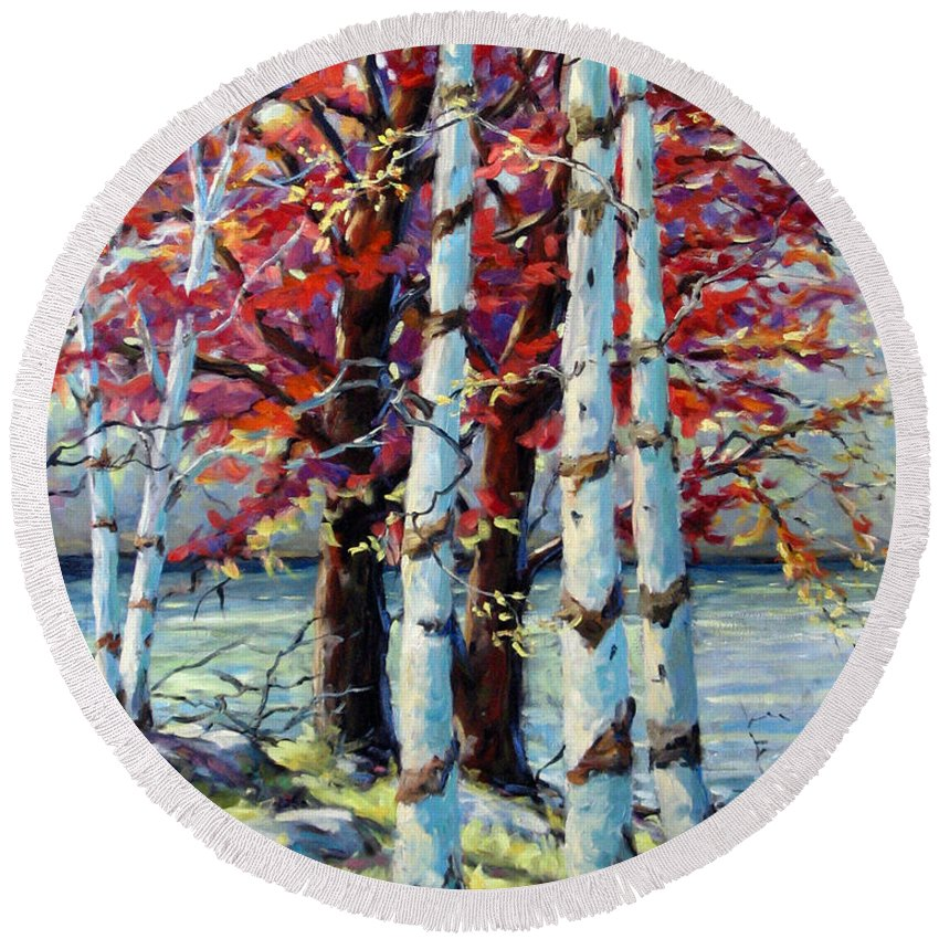 Birches Round Beach Towel featuring the painting Red Splash by Richard T Pranke