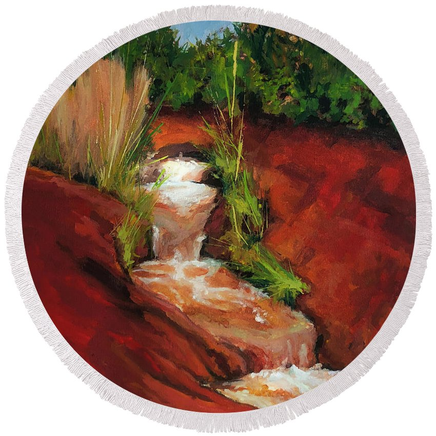 Waterfall Round Beach Towel featuring the painting Red Spring by Hal Sadler