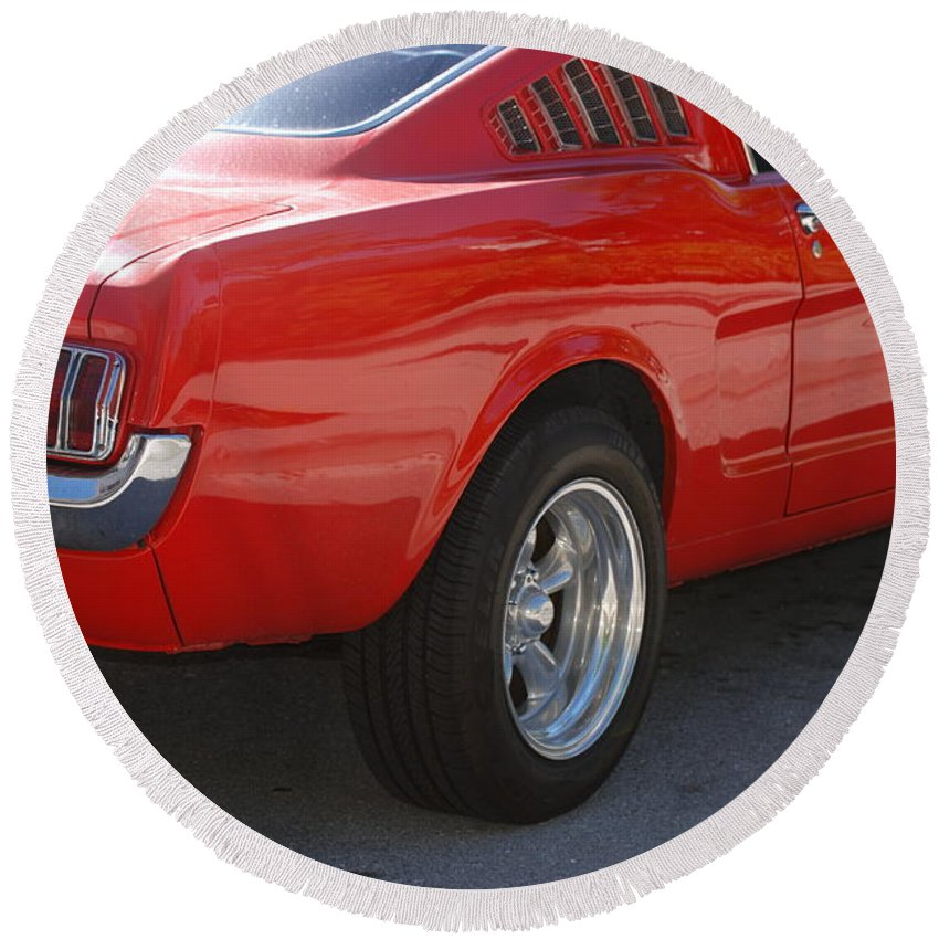 Ford Round Beach Towel featuring the photograph Red Stang by Rob Hans