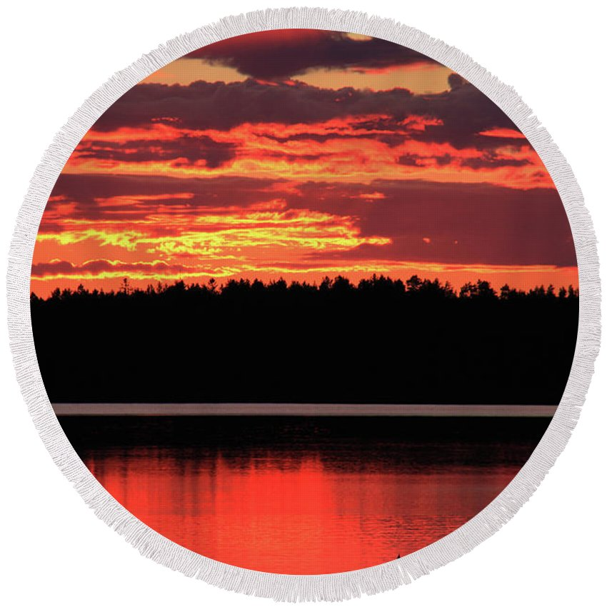 Red Round Beach Towel featuring the photograph Red Summer Eve by Fady Dow