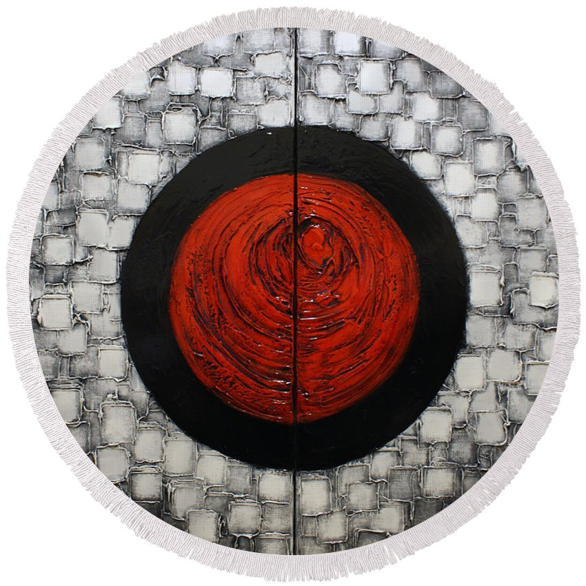 Red Round Beach Towel featuring the painting Red Sun by Susanna Shaposhnikova