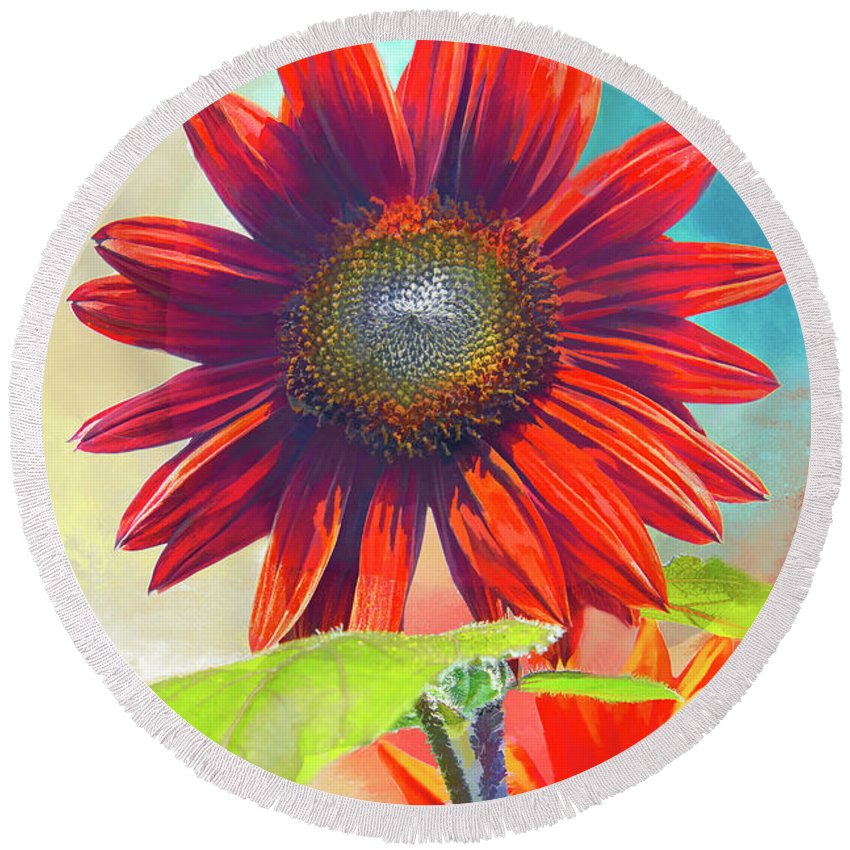 Helianthus Round Beach Towel featuring the photograph Red Sunflowers At Sundown by Regina Geoghan
