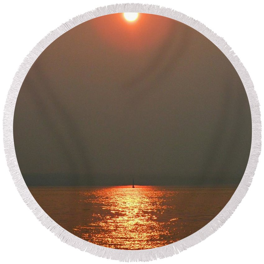 Red Sunset Round Beach Towel featuring the photograph Red Sunset by Anne McDonald