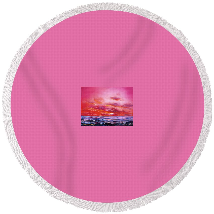 Red Round Beach Towel featuring the painting Red Sunset by Gina De Gorna