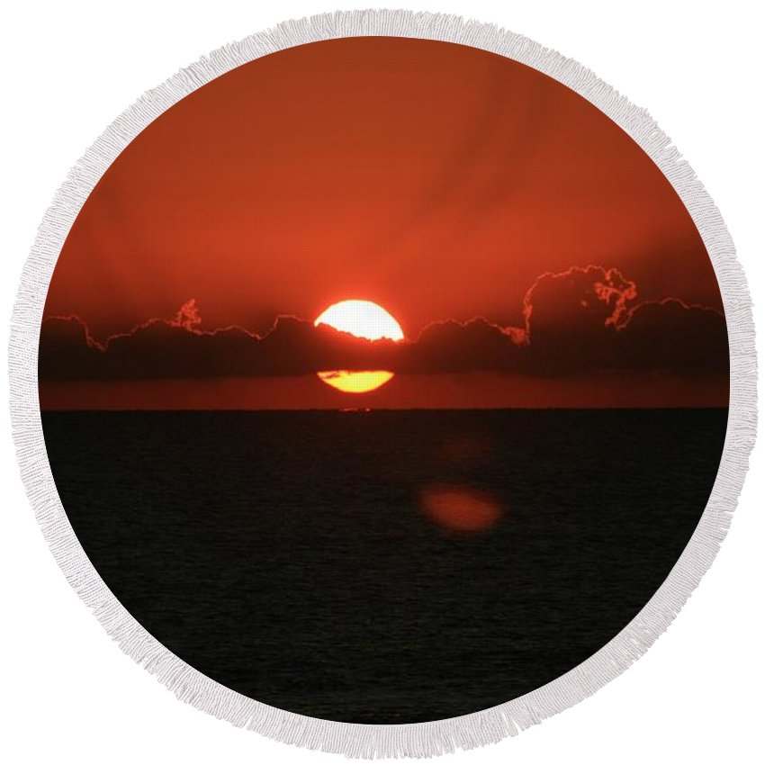 Sunset Round Beach Towel featuring the photograph Red Sunset Over The Atlantic by Nadine Rippelmeyer