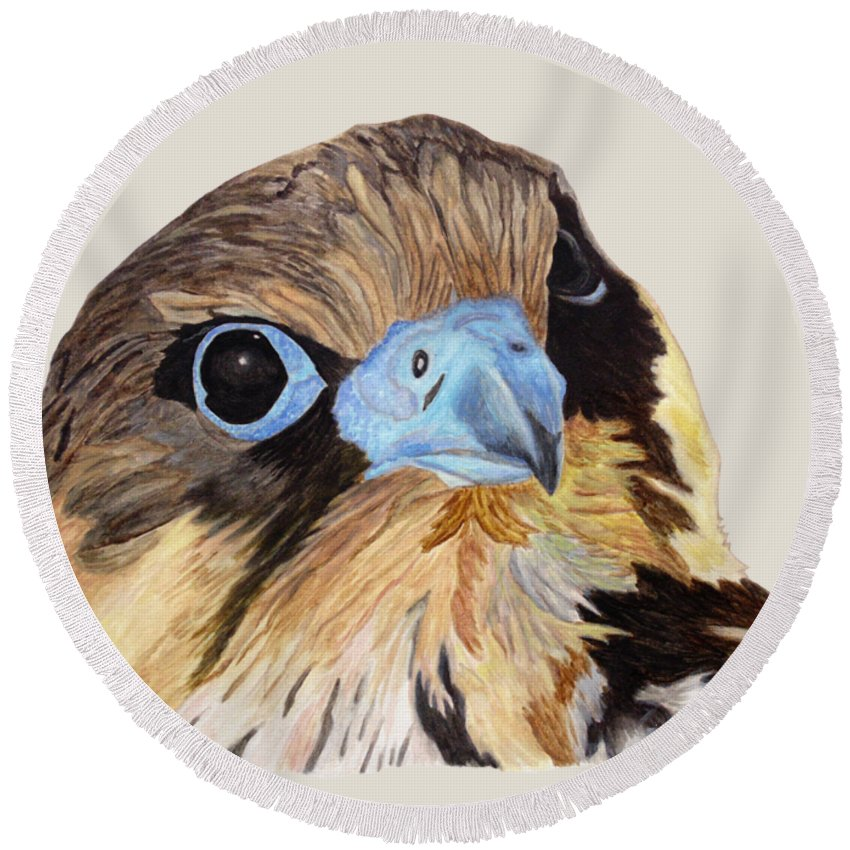 Red-tailed Hawk Round Beach Towel featuring the painting Red-tailed Hawk Portrait by Angeles M Pomata
