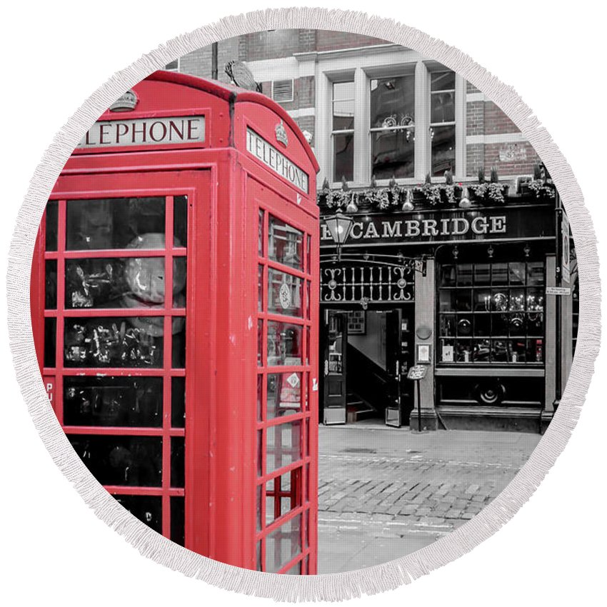Red Round Beach Towel featuring the photograph Red Telephone Box by Arild Lilleboe